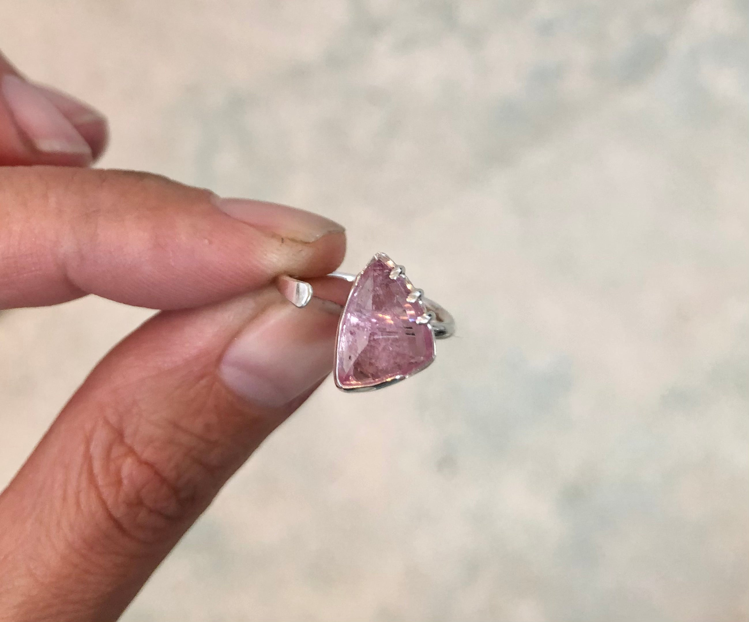 Pink Tourmaline open band ring // size 5.25