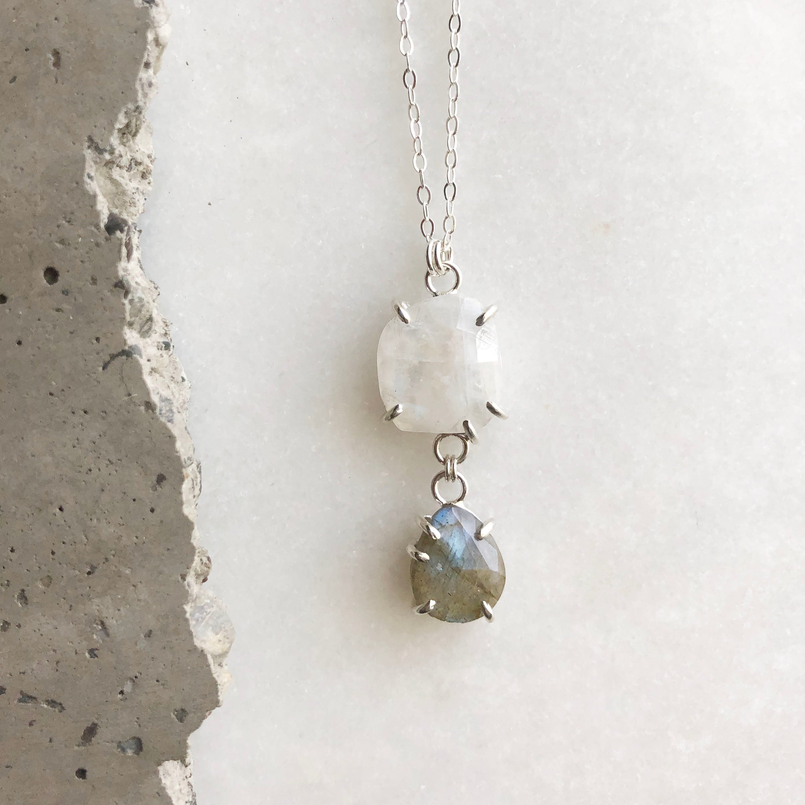Moonstone and Labradorite Necklace by Rockhaus Metals