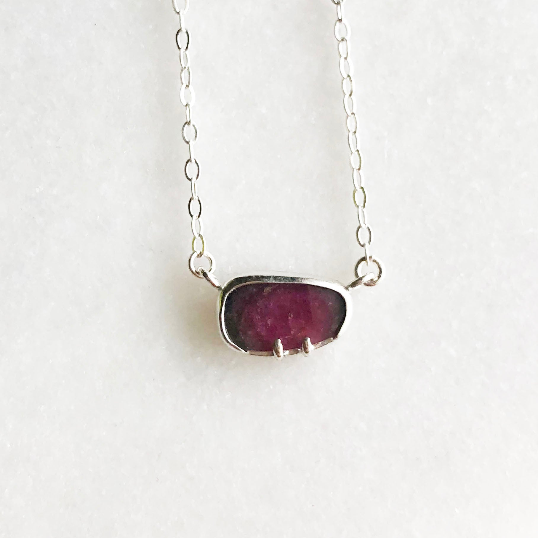Rose Cut Watermelon Tourmaline Necklace by Rockhaus Metals