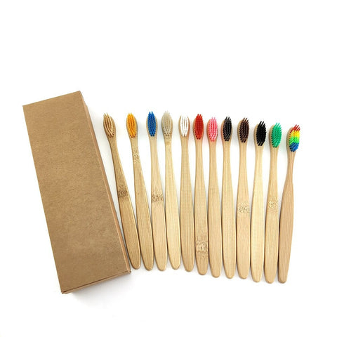 10-Pack of Bamboo Toothbrushes - Ecoimpakt