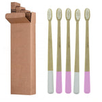 Pink & White Bamboo Toothbrushes Family Pack - Ecoimpakt