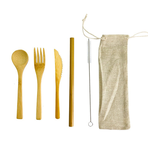 Bamboo Cutlery Set with Organic Cotton Pouch - Ecoimpakt