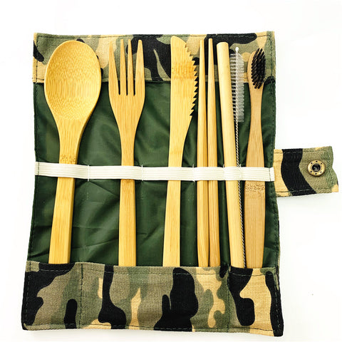 Bamboo Lunch Utensils kit with Toothbrush - Ecoimpakt