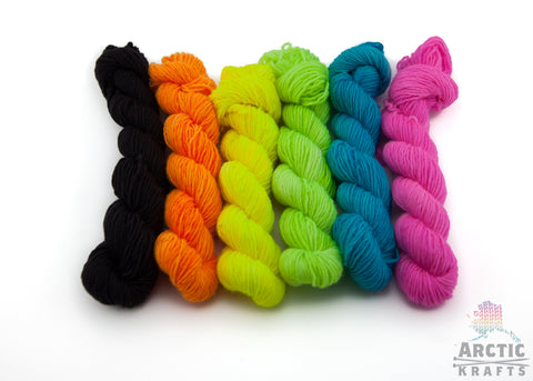 Neon nights, 6 mini skein set.