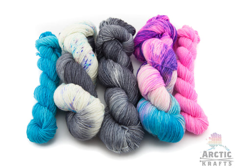 Fairy forest kit. 4 mini skein set & 3 full skeins on 1 ply yarn