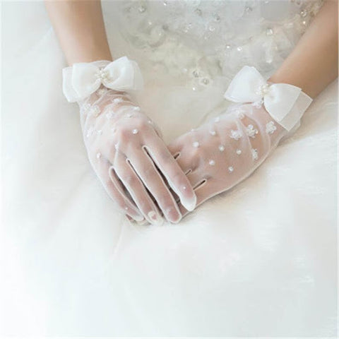 Wrist length wedding gloves