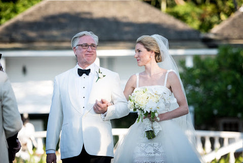 Bride and her father at a wedding ceremony