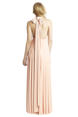 Halter Neckline with Long Bow Back Maxi Dress