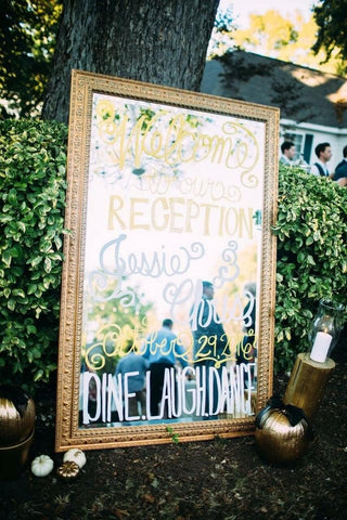 Mirrored wedding welcome sign