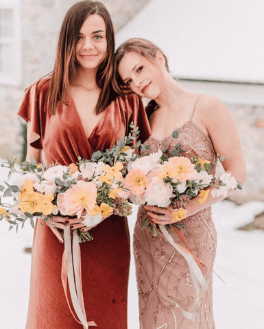 Mismatched maid of honor dresses