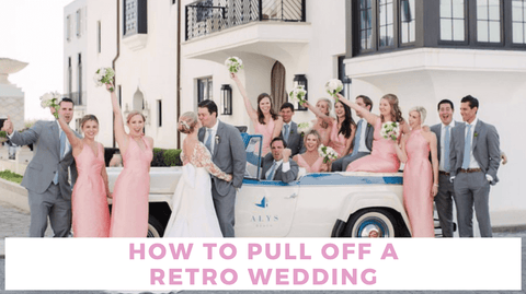 Retro wedding party with vintage car