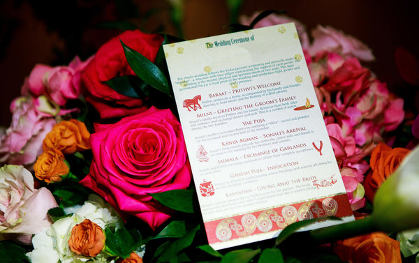 Colorful wedding program for a Hindu ceremony.