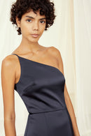 One-shoulder spaghetti strap dress with slit Liquid Satin