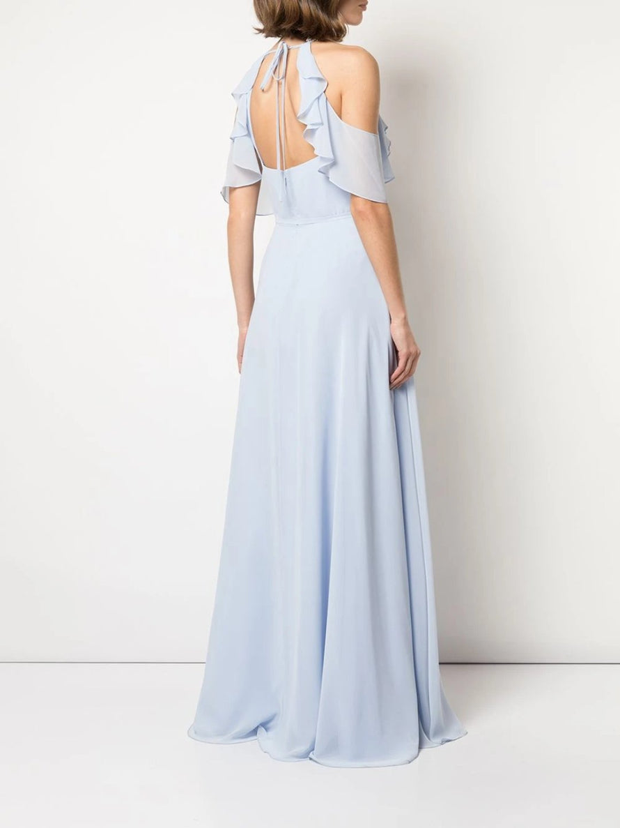 Marchesa Notte Cold-Shoulder Ruffle Bridesmaid Dress BM1113