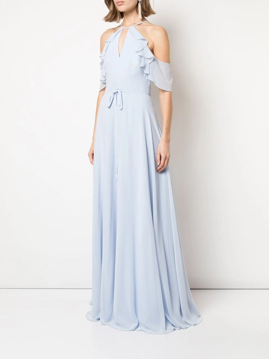 Chiffon, Cold-shoulder, Halter neckline, Ruffle keyhole bodice, A-line, Full circle skirt, Floor-length
