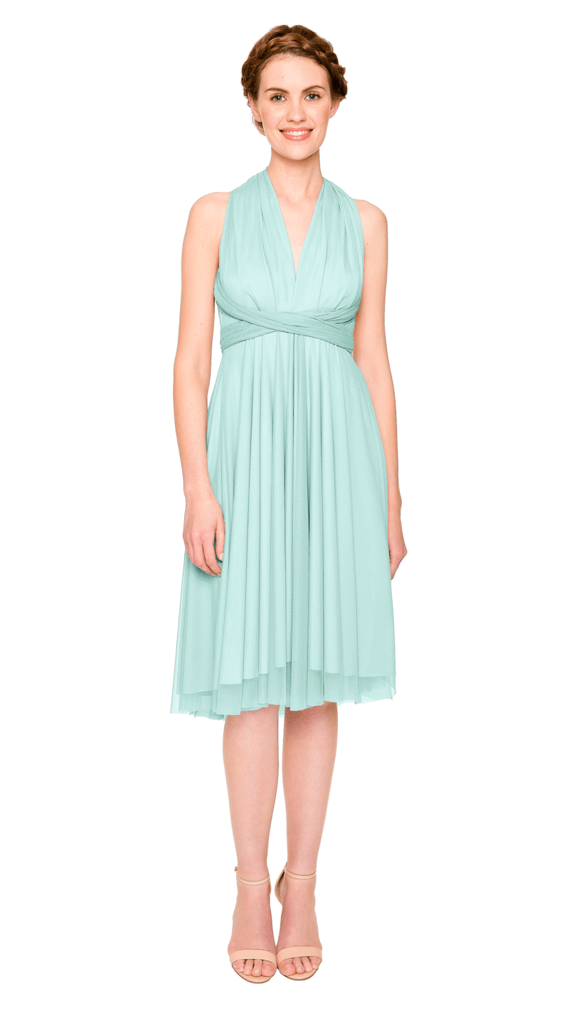 Seafoam-Twobirds Convertible Bridesmaid Dress Tulle Short Straight