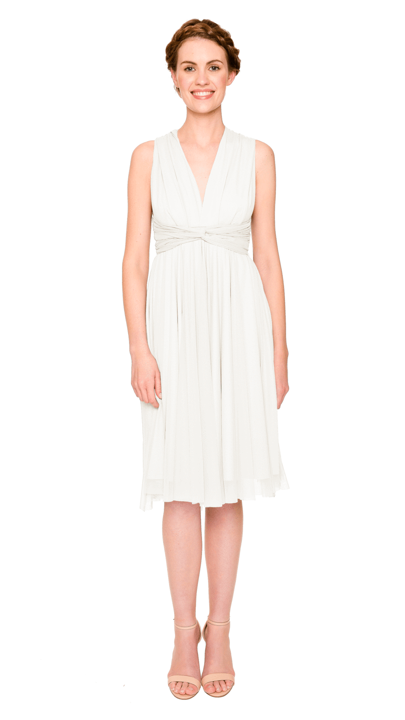 White-Twobirds Convertible Bridesmaid Dress Tulle Short Straight