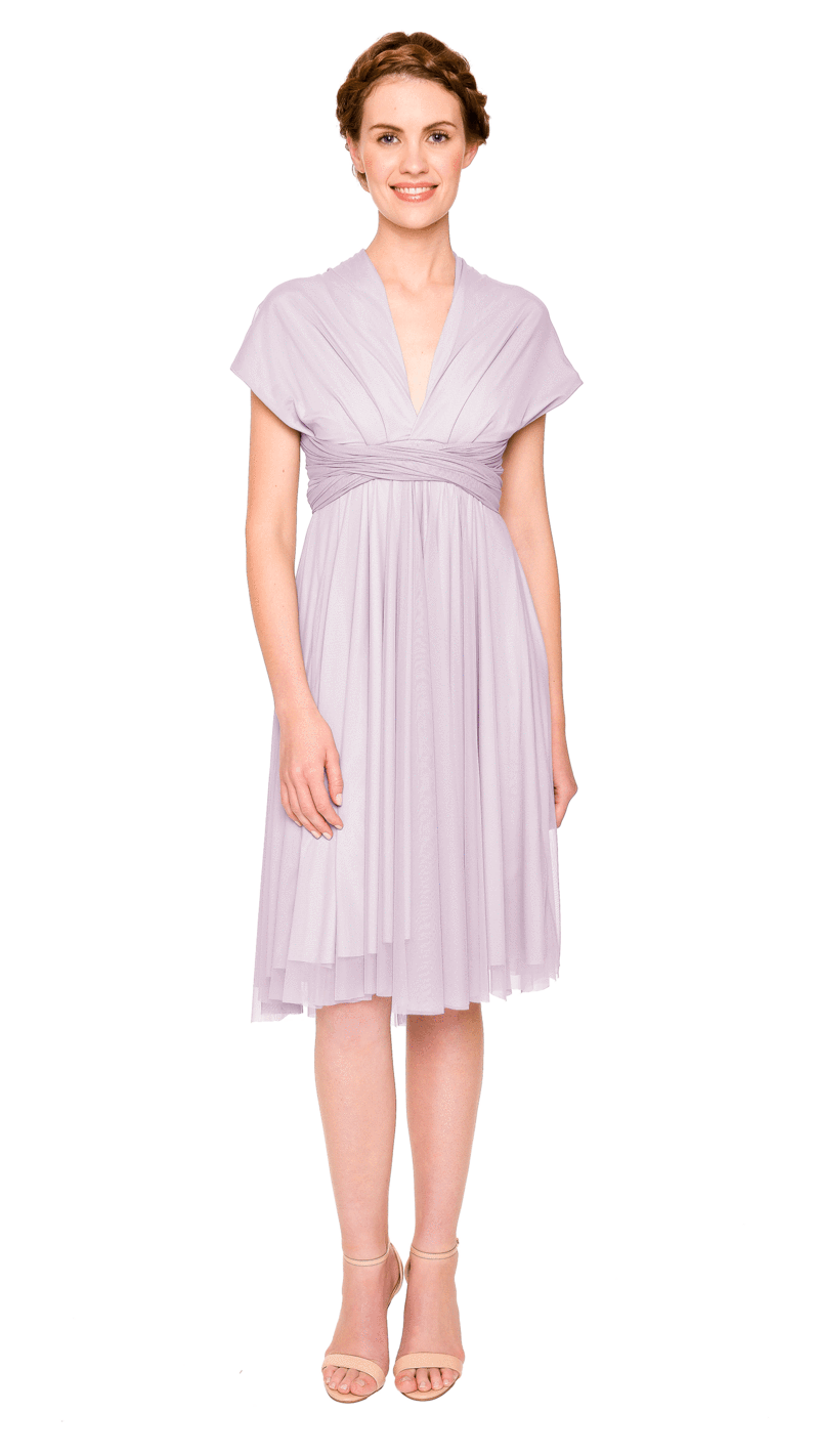 Lilac-Twobirds Convertible Bridesmaid Dress Tulle Short Straight