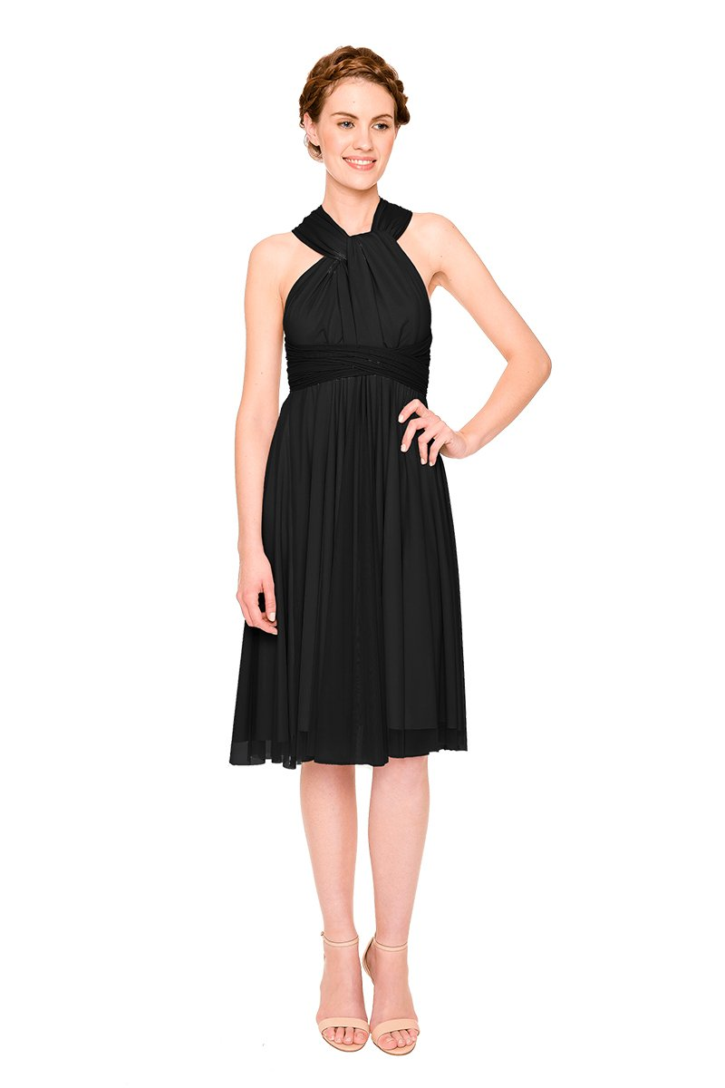 Black-Twobirds Convertible Bridesmaid Dress Tulle Short Straight