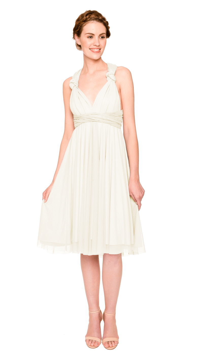 Creme-Twobirds Convertible Bridesmaid Dress Tulle Short Straight
