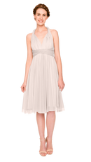 Champagne-Twobirds Convertible Bridesmaid Dress Tulle Short Straight