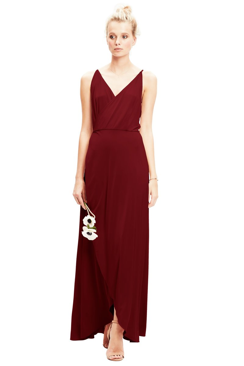 Burgundy-Twobirds Bridesmaid Dress Lily