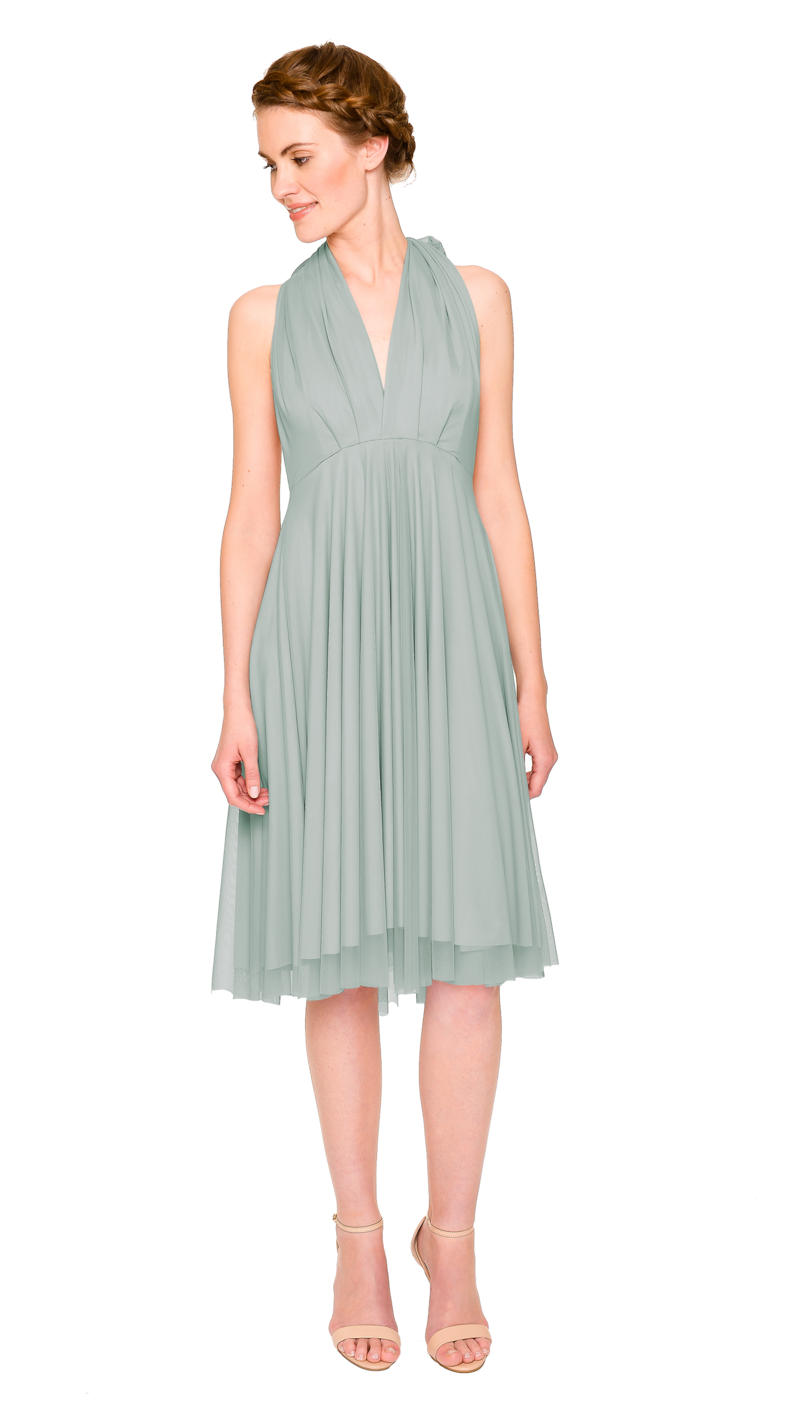 Sage-Twobirds Convertible Bridesmaid Dress Tulle Short Straight