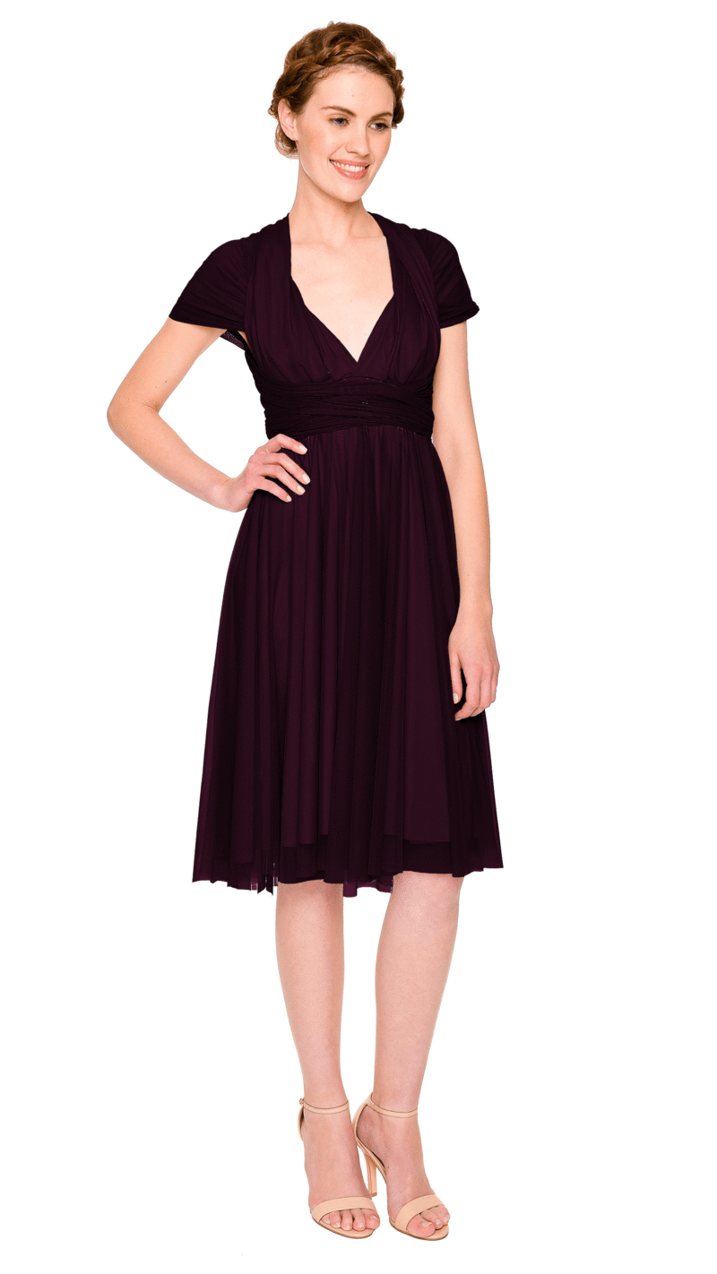 Plum-Twobirds Convertible Bridesmaid Dress Tulle Short Straight
