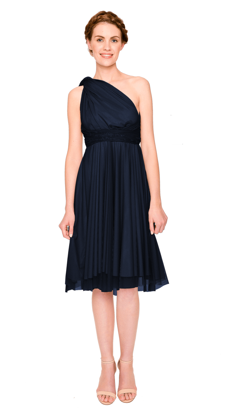 MIdnight Blue-Twobirds Convertible Bridesmaid Dress Tulle Short Straight