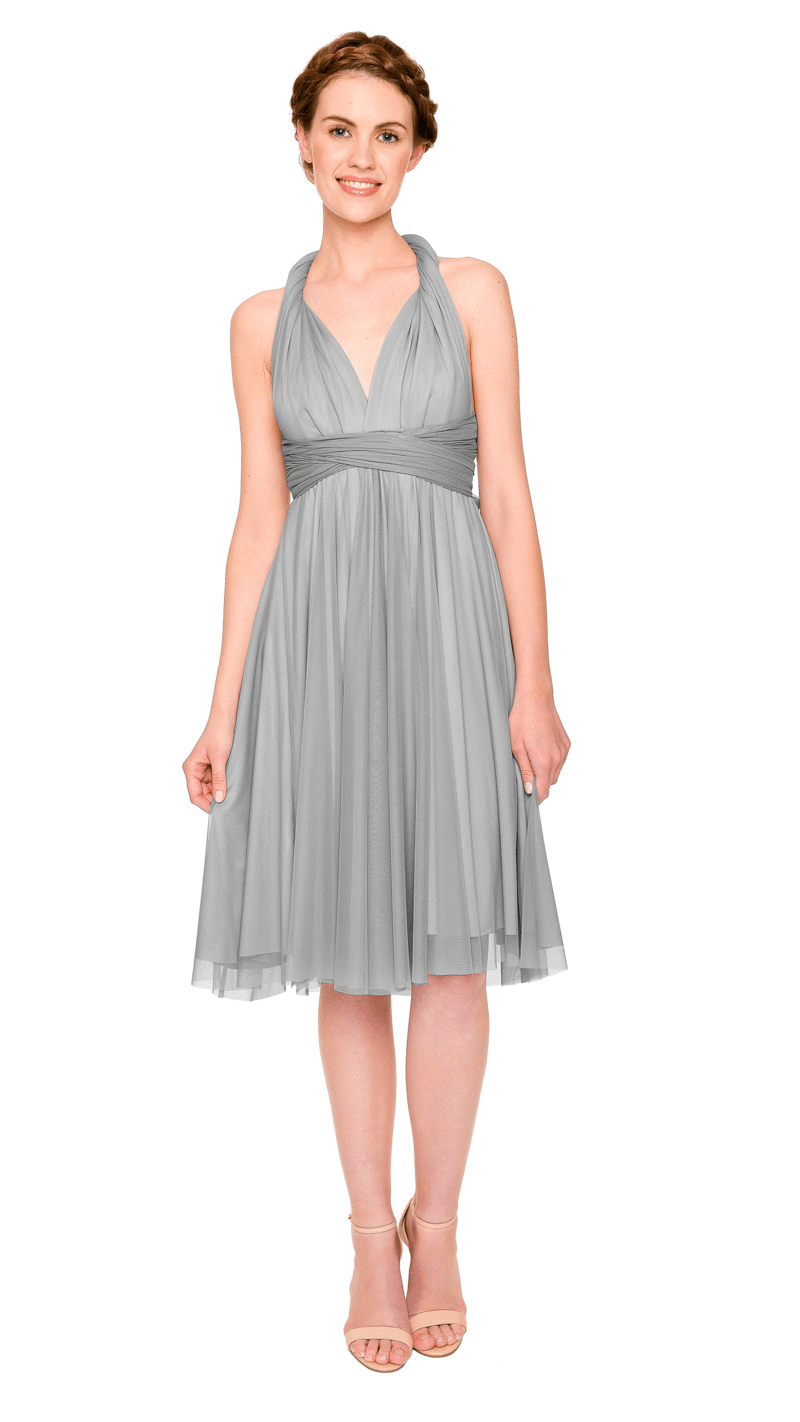 Dove-Twobirds Convertible Bridesmaid Dress Tulle Short Straight