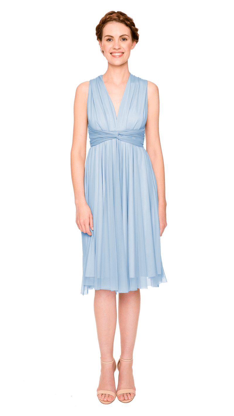 Powder Blue-Twobirds Convertible Bridesmaid Dress Tulle Short Straight