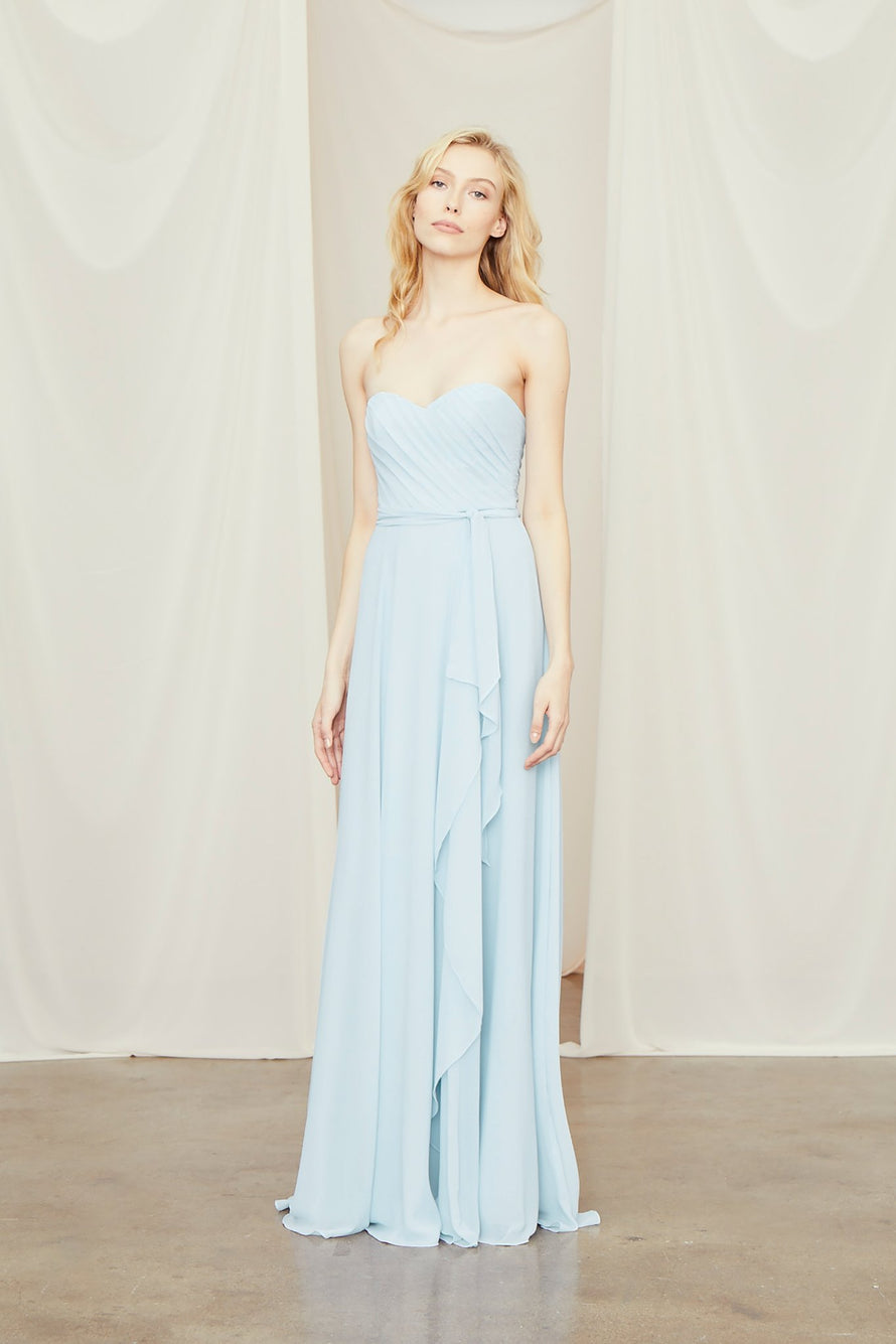 Strapless sweetheart dress with cascading skirt detail, and ruched bodice in flat chiffon