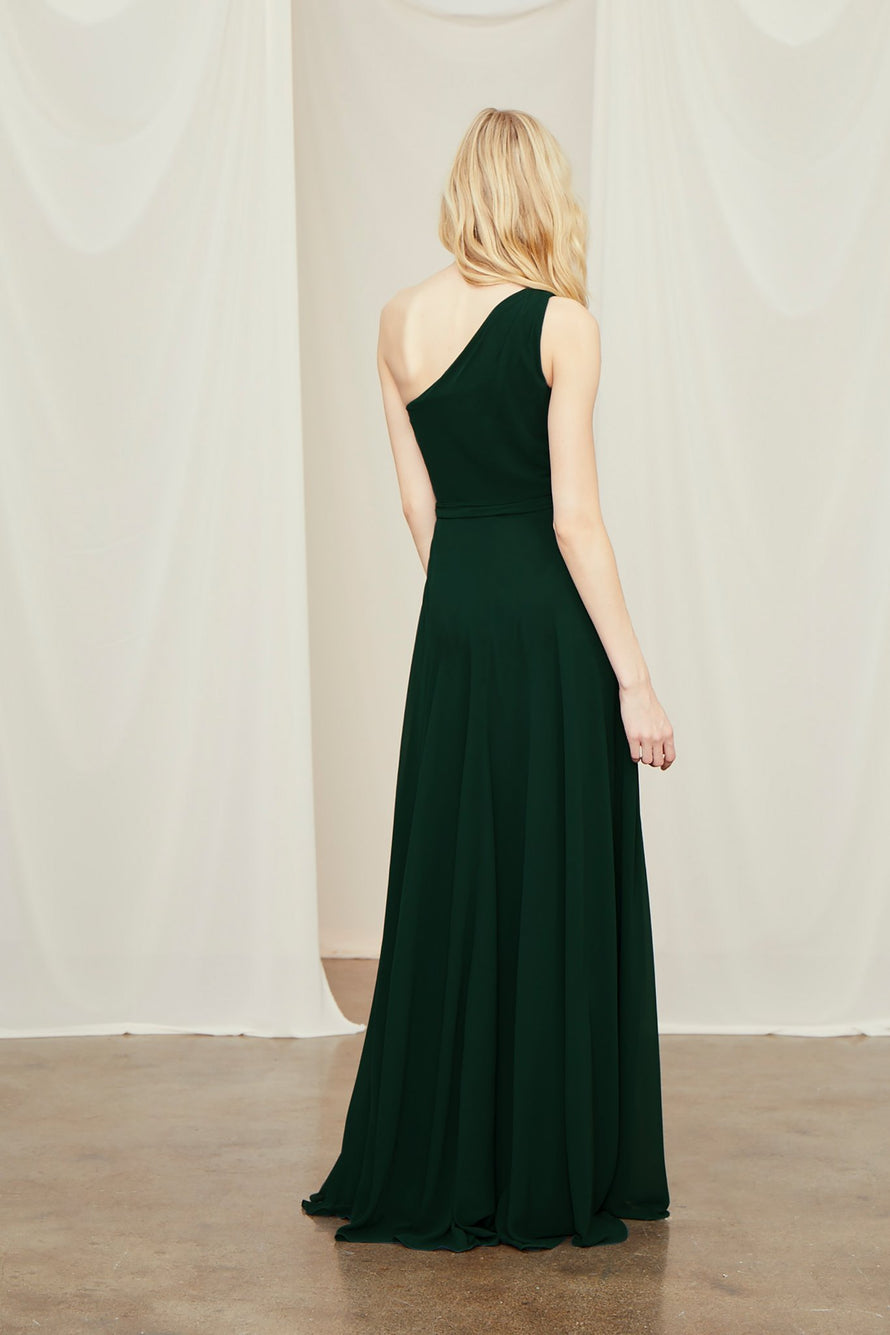 One-shoulder bridesmaid dress from Amsale in flat chiffon