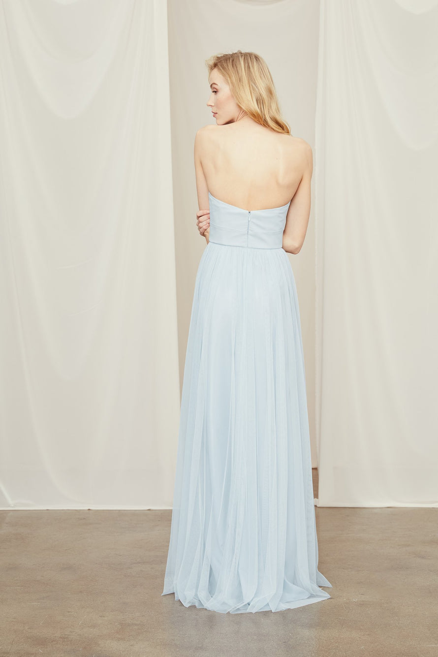Strapless bridesmaid dress with a structured crepe bodice in tulle skirt