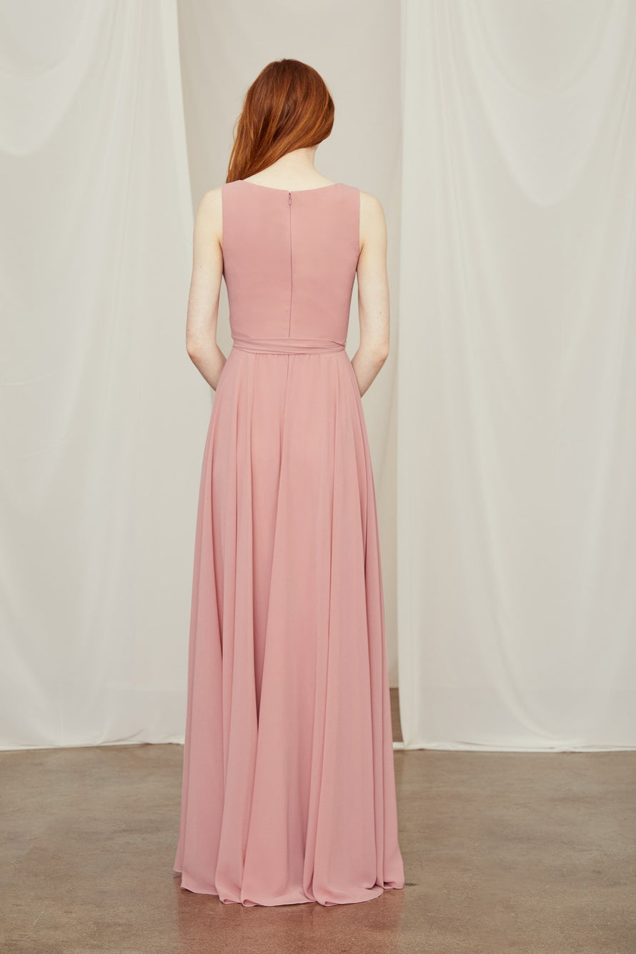 V-neck bridesmaid dress in smooth chiffon ties at the waist and zips high at the back