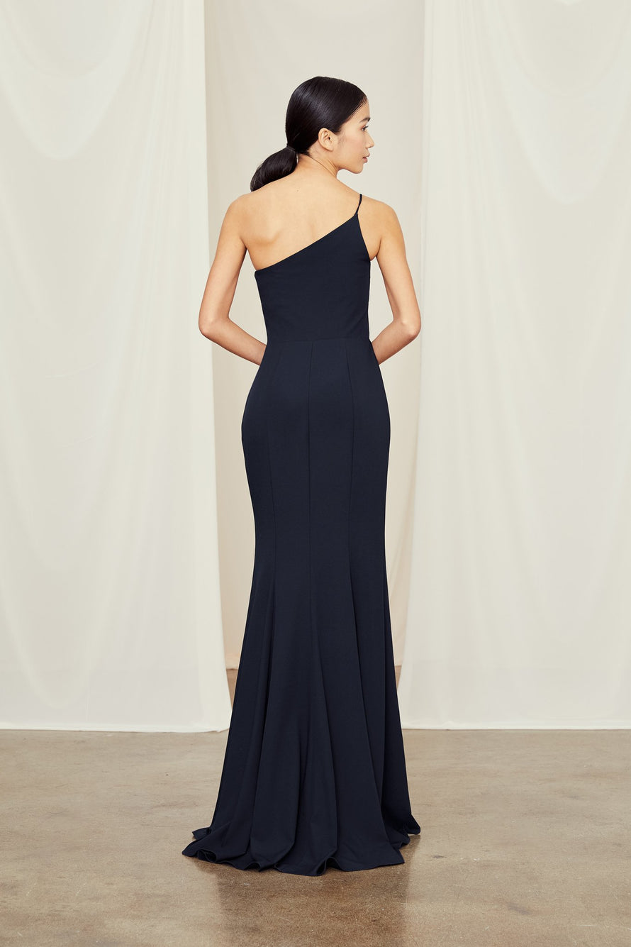 One-shoulder spaghetti strap dress with slit in crepe