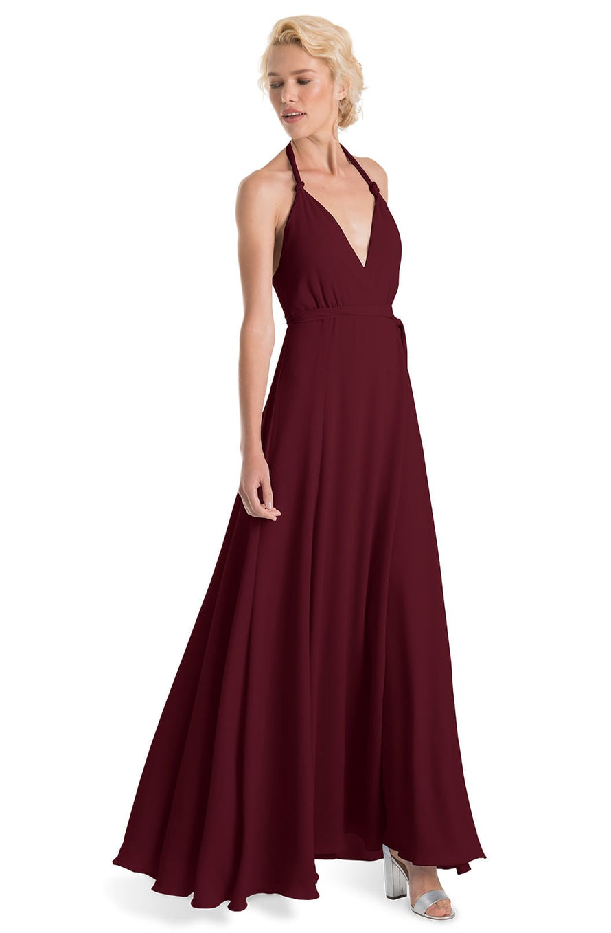 Joanna August Long Bridesmaid Dress Francesca-Merlot