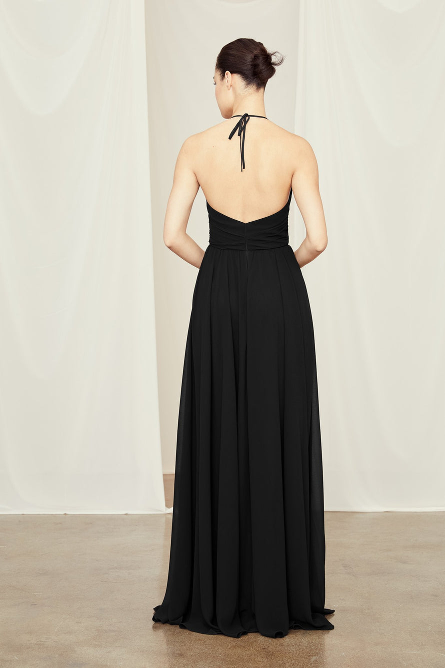 Bridesmaid Dress from Amsale Bridesmaids with V Neck and Criss-Cross Waist