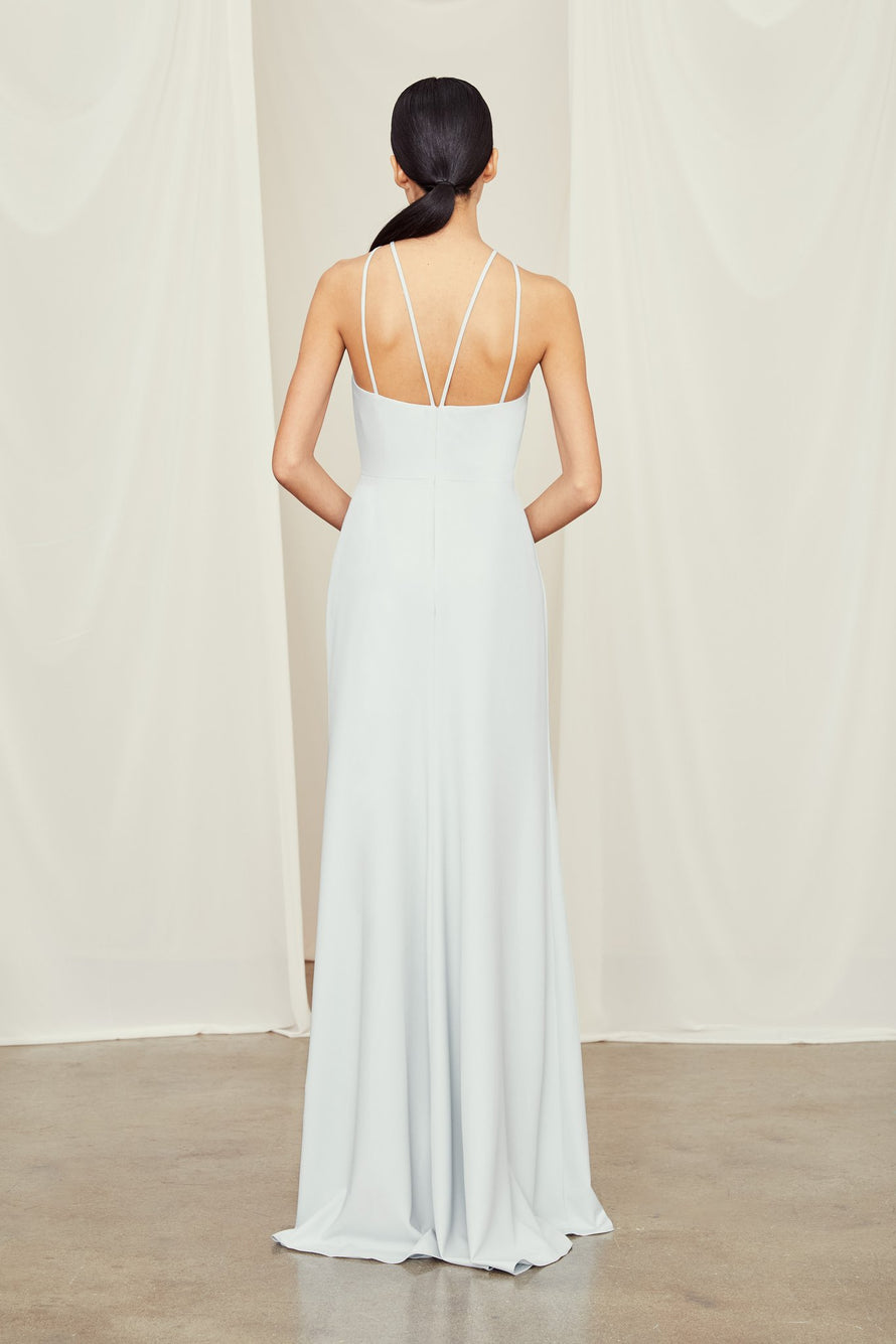 High neck crepe bridesmaids dress with strappy back