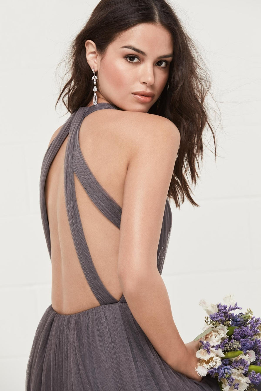 Inna Bobbinet with halter V-neckline. Gently pleated, plunging surplice on the bodice.