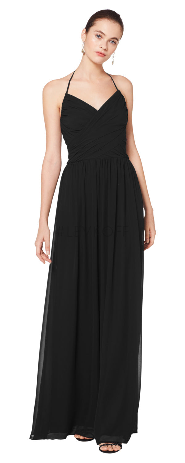 #LEVKOFF Bridesmaid Dress Style 7076 front black