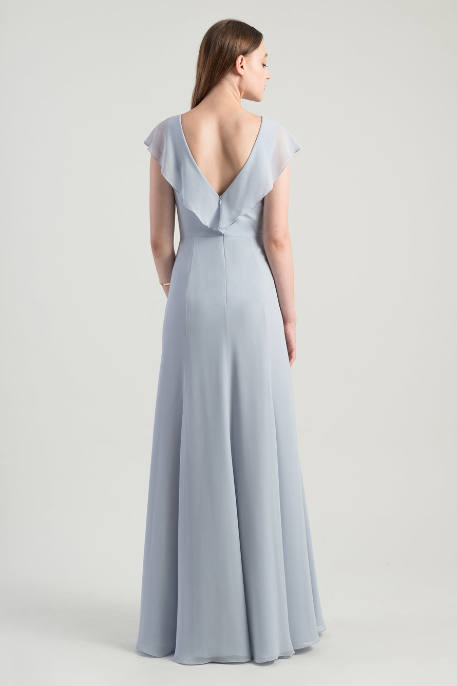 Bella exclusive dress with plunging v-neck and flutter sleeve in flowy luxe chiffon