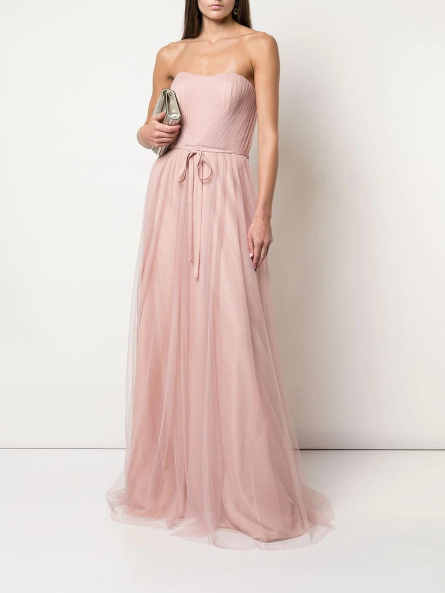 Marchesa Notte Strapless Tulle Draped Long Bridesmaid Dress