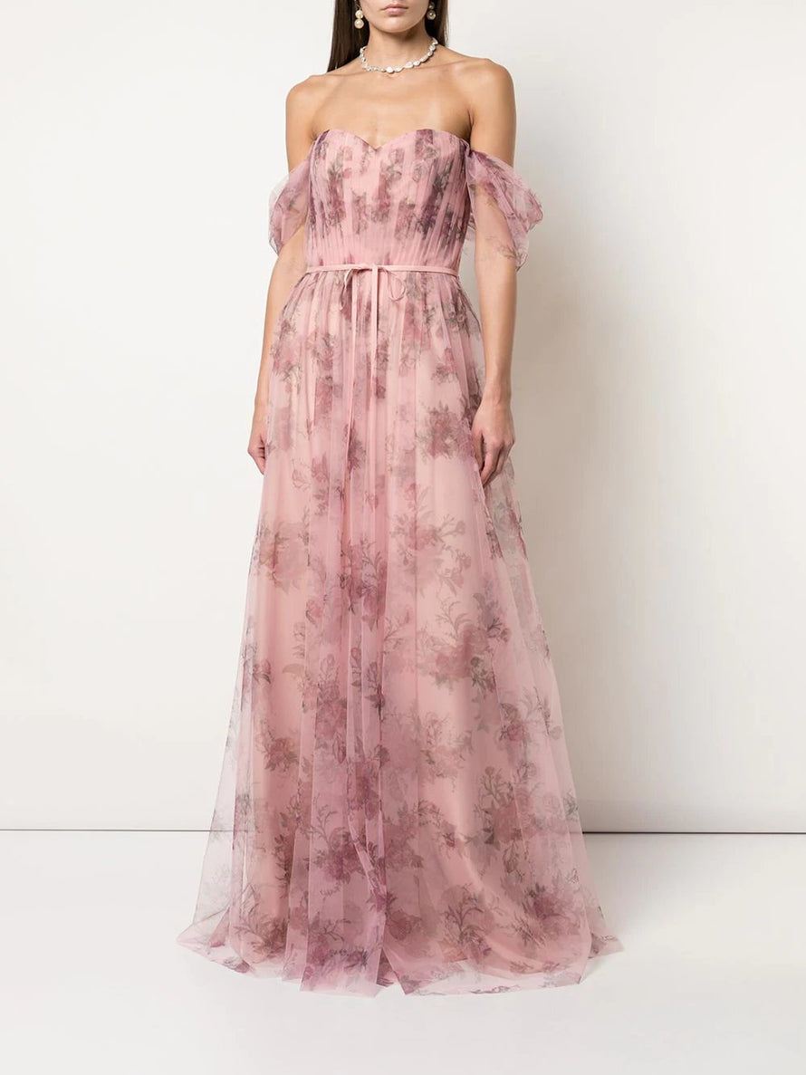 Blush Marchesa Notte Off Shoulder Tulle Long Bridesmaid Dress