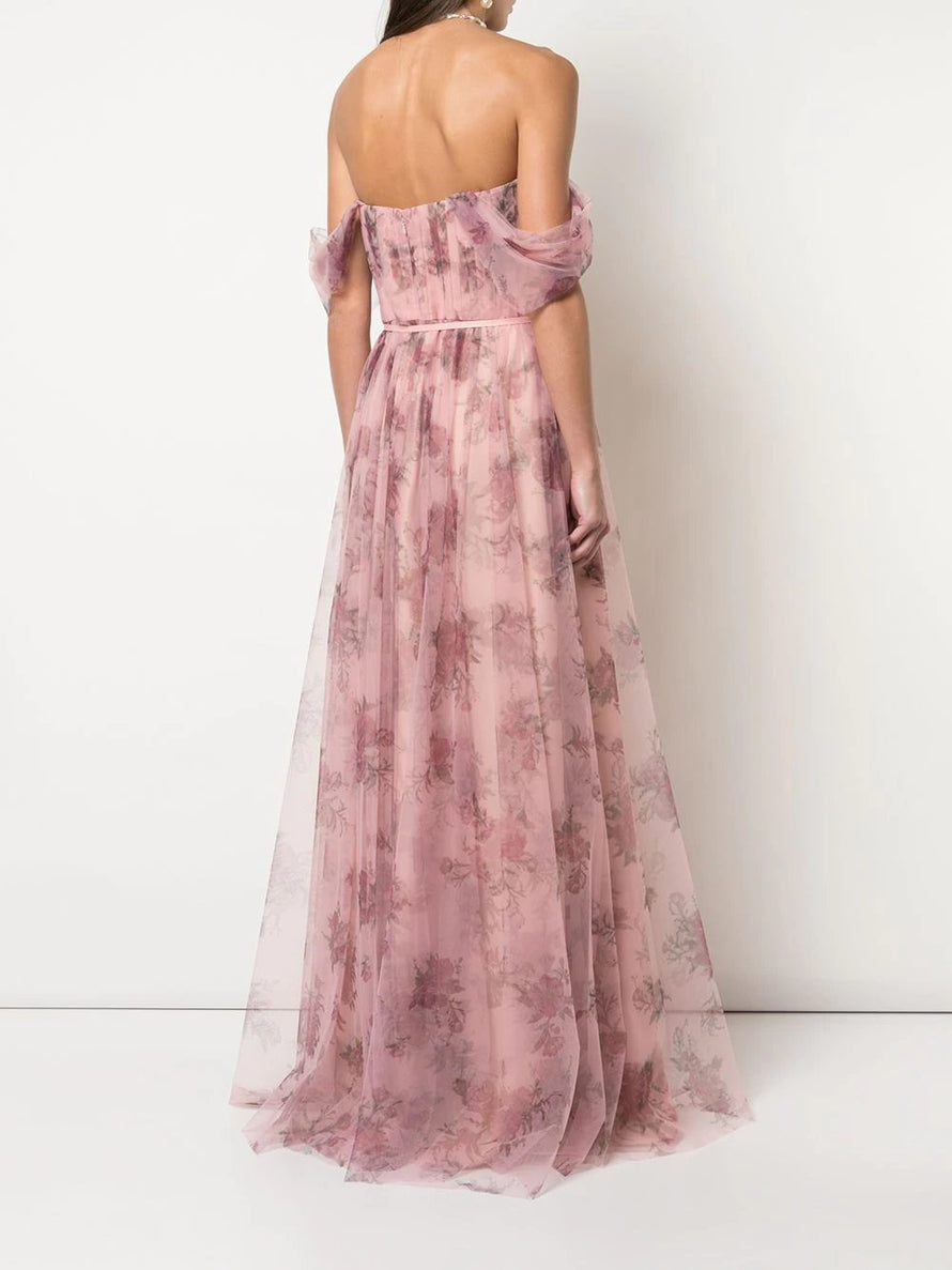 Marchesa Notte Off Shoulder Tulle Long Bridesmaid Dress