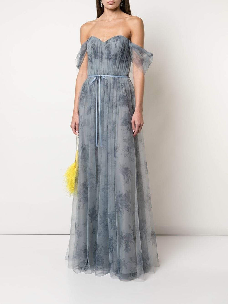 Dusty Blue Marchesa Notte Off Shoulder Tulle Long Bridesmaid Dress
