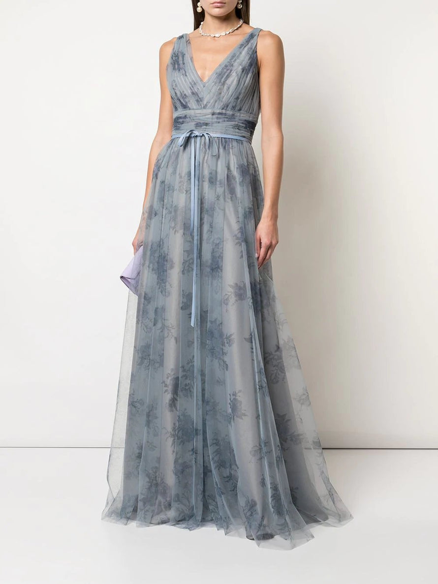 Dusty Blue Marchesa Notte Sleeveless V-neck Tulle Long Bridesmaid Dress