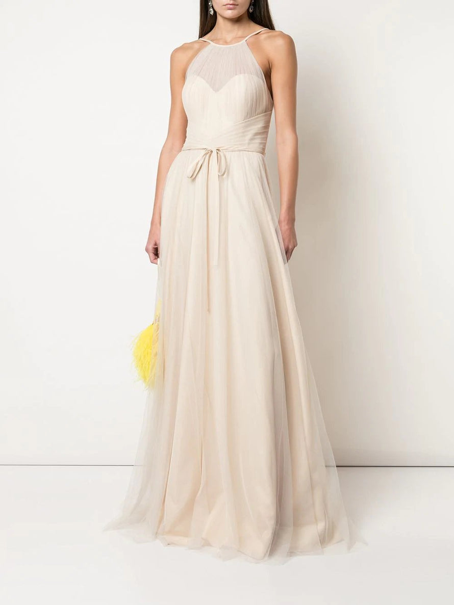 Marchesa Notte Halter Tulle Draped Long Bridesmaid Dress