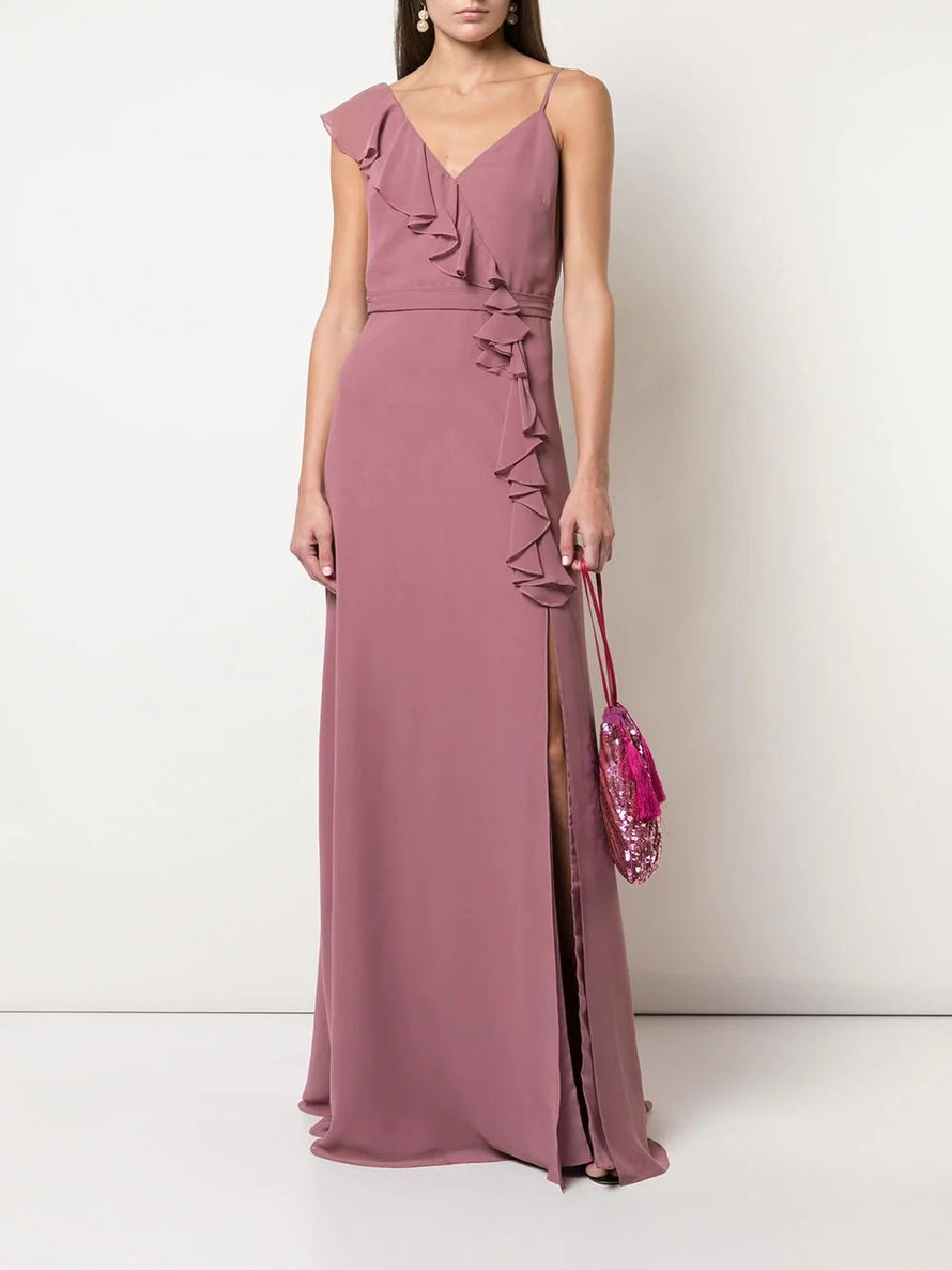 Marchesa Notte Asymmetrical with Ruffle Detail Long Bridesmaid Dress