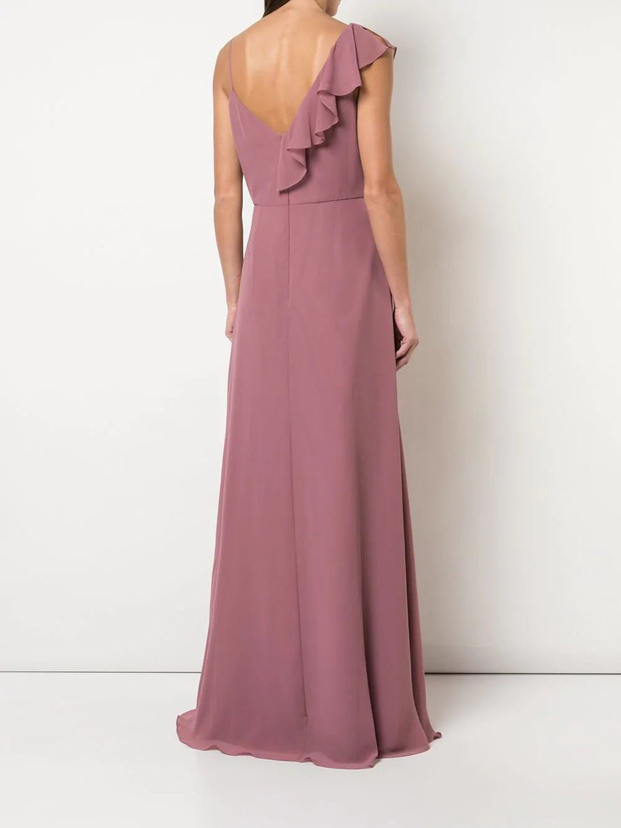 Marchesa Notte Notte Asymmetrical with Ruffle Detail Long Bridesmaid Dress